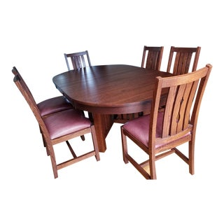 Arts and Crafts Villageois Mission Oak Dining Set - 7 Pieces For Sale
