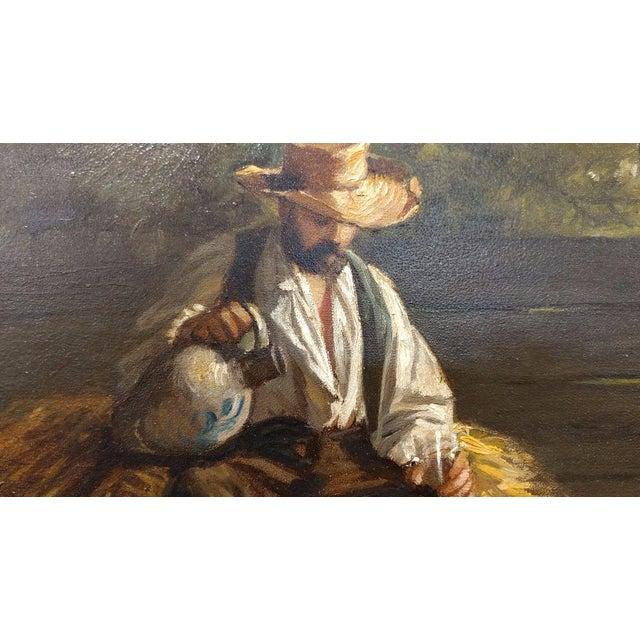 Rest From the Harvest -Original 19th Century Oil Painting -Signed - Image 3 of 9