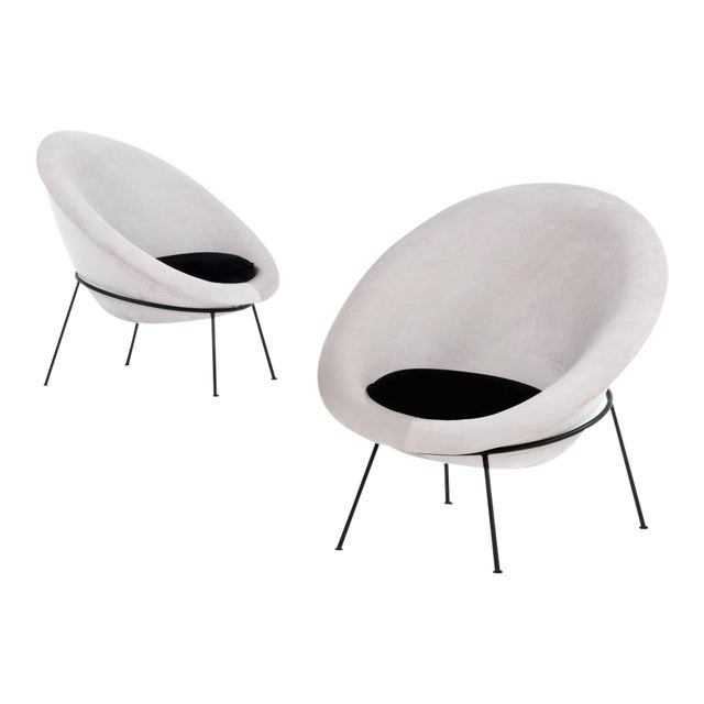 1950s Vintage Velvet and Lacquered Metal Egg Chairs- A Pair For Sale