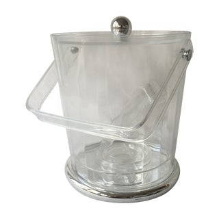 Clear Acrylic & Silver Ice Bucket w/Tongs