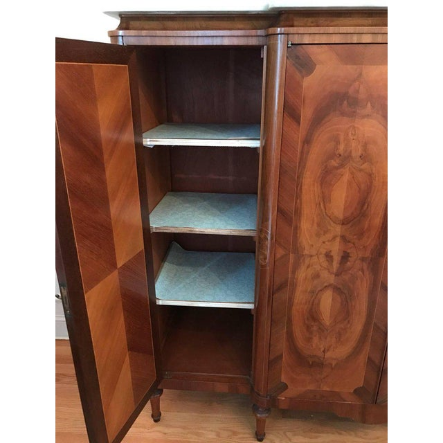 Art Deco Antique French Art Deco Crotch Mahogany Freres Credenza Sideboard Cabinet For Sale - Image 3 of 9