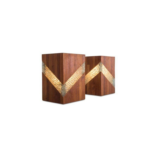 Mid-Century Modern Midcentury Teak and Glass Table Lamps, Set of Two For Sale - Image 3 of 9