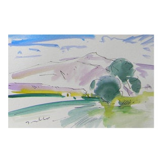 Jose Trujillo California Impressionism Modern Original Sky Watercolor Painting For Sale