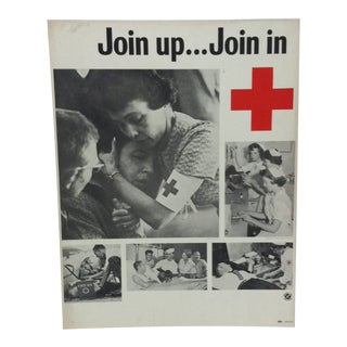 "1950 Vintage ""Join Up ... Join In"" Red Cross Sign For Sale"