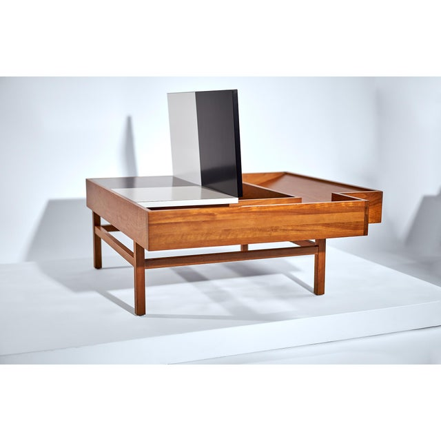 Wood Coffee Table Designed by John Keal for Brown Saltman Checked Surface Lifts to Reveal Storage Circa 1950s For Sale - Image 7 of 10