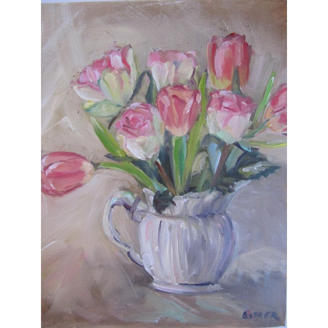 Impressionism Tulips in a Pitcher Painting For Sale - Image 3 of 5