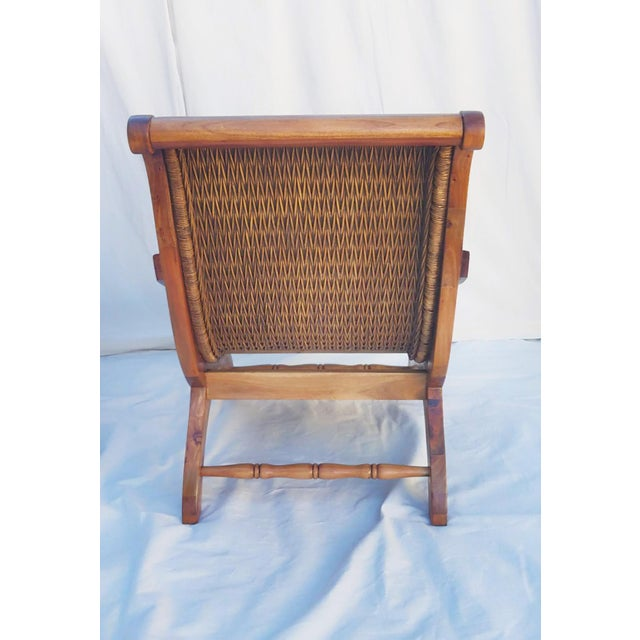 1960's Vintage West Indies British Colonial Style Teak & Cane Plantation Chair & Ottoman For Sale - Image 4 of 7