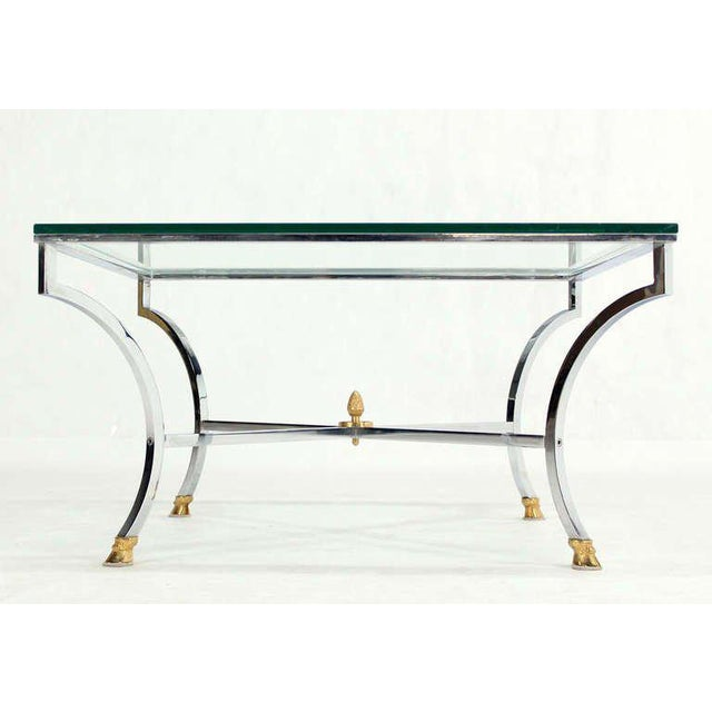"Brass Hoof Brass Feet Chrome and 3/4"" Glass Square Coffee Table For Sale - Image 7 of 10"