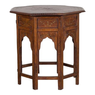 19th Century Antique Inlaid Rosewood Ebony and Brass Hoshiapur Indian Table For Sale