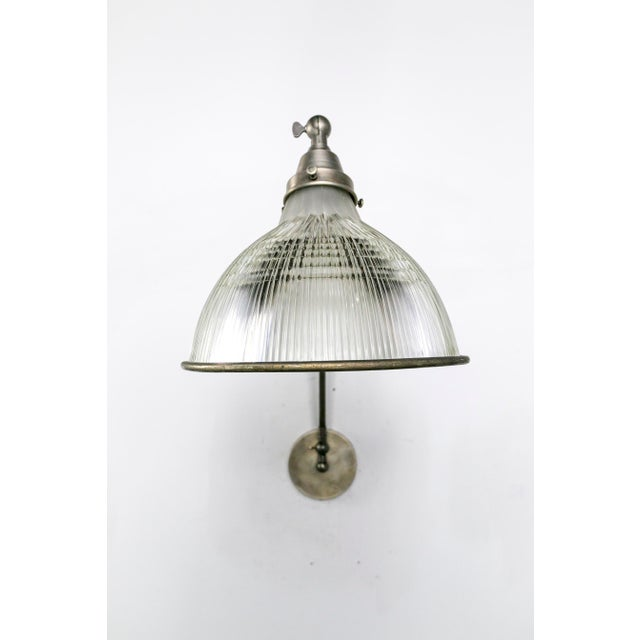 Reeded Holophane Shades as Armed Sconces For Sale - Image 4 of 12