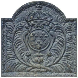 18th Century French Cast Iron Fireback For Sale