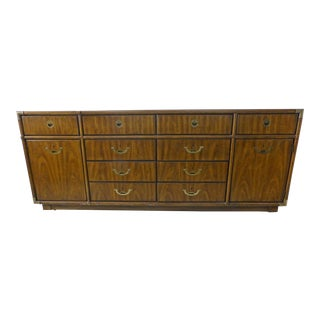 Vintage Drexel Accolade Campaign 10 Drawer Inset Brass Hardware Accent Dresser For Sale