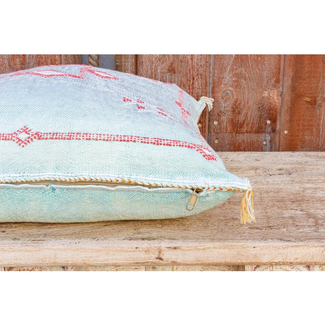2010s Shai Large Square Moroccan Silk Rug Pillow For Sale - Image 5 of 8