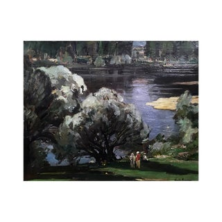 """Claude Rameau """"A Day in the Park"""" Painting 1925 For Sale"""