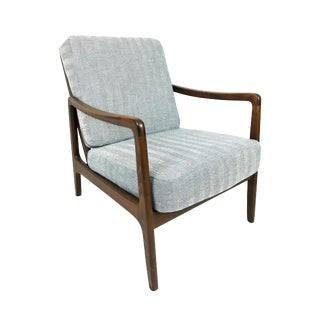 France & Daverkosen Mid Century Herringbone Lounge Chair by Ole Wanscher Model 109