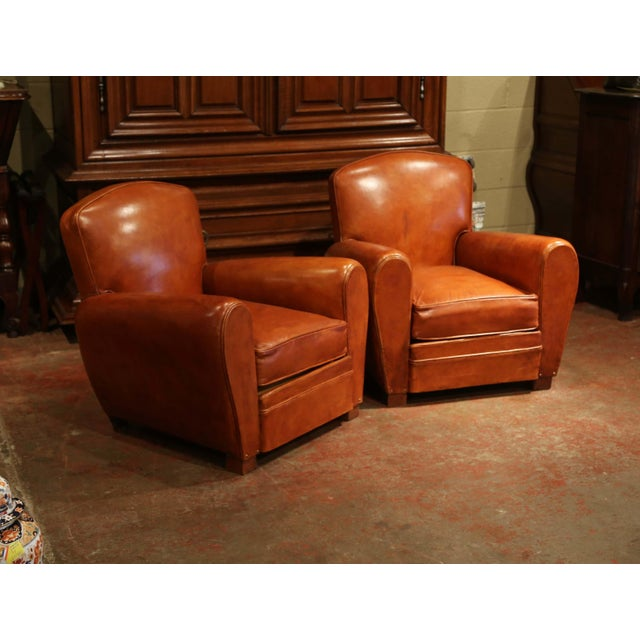 Pair of Early 20th Century French Club Armchairs With Original Brown Leather For Sale - Image 4 of 9