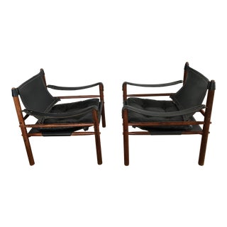 1960s Mid-Century Modern Arne Norrell Rosewood Safari Chairs - a Pair For Sale