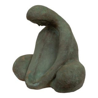 Ceramic Sculpture of Sitting Woman For Sale