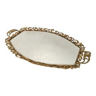 Hollywood Regency Gold Beveled Mirror Dresser Tray For Sale
