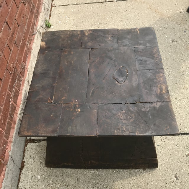 Boho Chic Industrial Chic Antique Table For Sale - Image 3 of 9