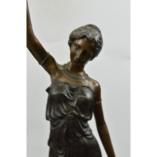 Hand Made Goddess Torchiere Bronze Floor Lamp Figurine For Sale - Image 5 of 5