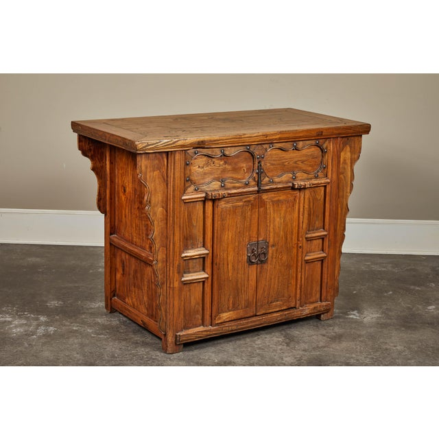 Asian 19th C. Chinese Elm Altar Cabinet For Sale - Image 3 of 11