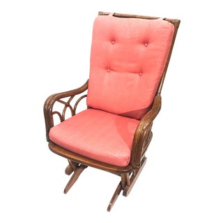 McGuire Style Mid-Century Modern Red Upholstered Rattan Rocker/Glider For Sale