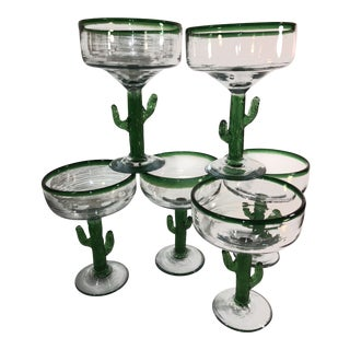 Traditional Rustic Mexican Margarita Hand Blown Glasses With Cactus Stem - Set of 6 For Sale