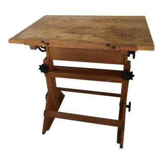 1900s Industrial Wood Drafting Table