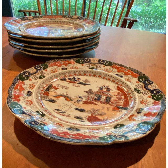 Ceramic Antique Mason's Ironstone Chinoiserie Luncheon or Dinner Plates — Set of 6 For Sale - Image 7 of 11