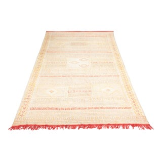 Intricate Soumak Area Rug in Soft Neutral Tones; Beige, Green and Red For Sale