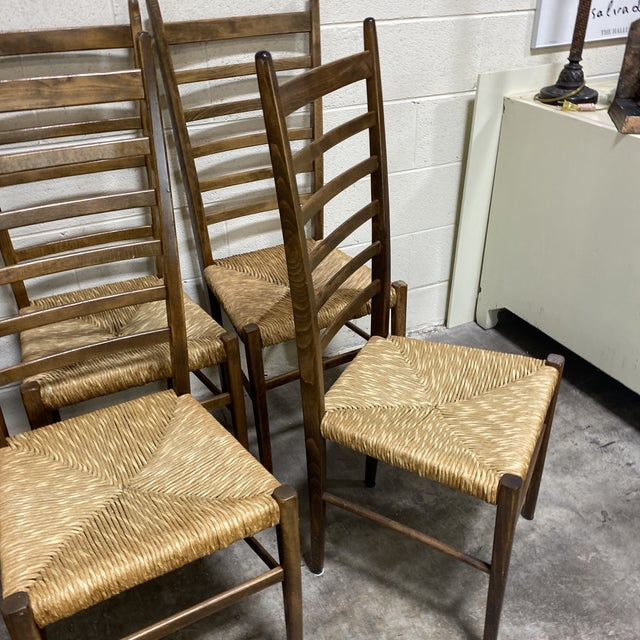 Mid-Century Modern Mid Century Italian Gio Ponte Style Ladder Back Chairs - Set of 8 For Sale - Image 3 of 13