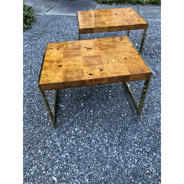 1970s Mid-Century Modern Olive Wood and Brass End Tables - a Pair For Sale In New York - Image 6 of 13