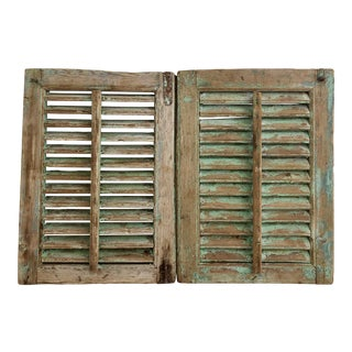 Vintage Provence Painted Shutters - a Pair For Sale
