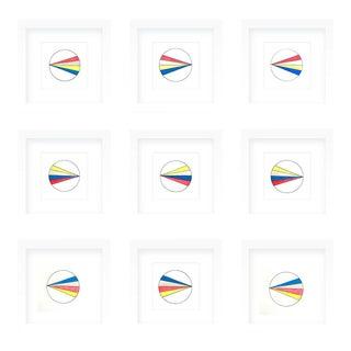 Natasha Mistry Framed Minimalist Rainbow Ink Drawings - Set of 9 For Sale