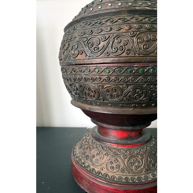 Wood Antique Lacquered Wood Offering Vessel, Thailand For Sale - Image 7 of 12