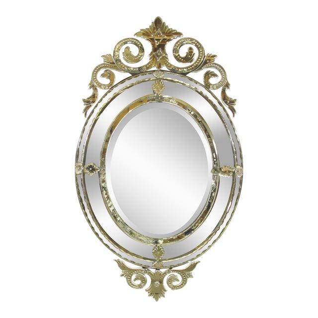 Venetian Cut Glass Wall Mirror For Sale