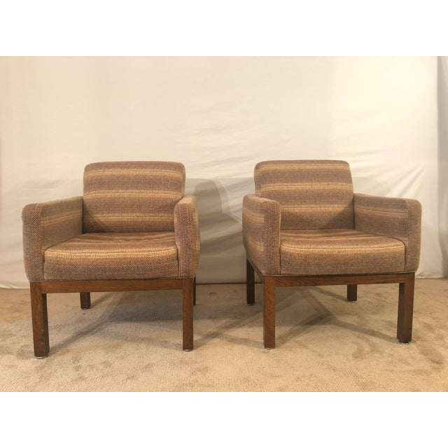 Pair of conference chairs designed by Milo Baughman for Thayer Coggin. These chairs were made in 1983. Upholstery is wool...