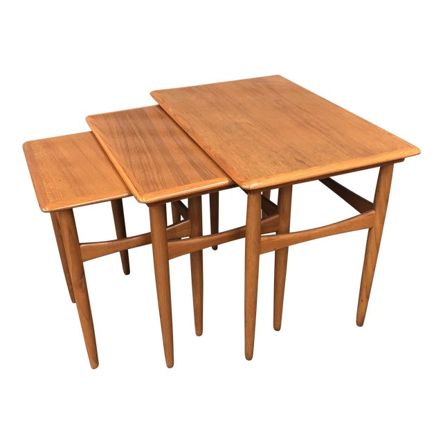 1960s Scandinavian Kai Kristiansen Teak Nesting Tables - Set of 3 For Sale