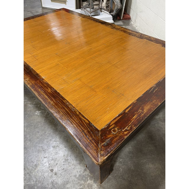 Oversized Ming Bamboo and Wood Kang Coffee Table For Sale - Image 4 of 8