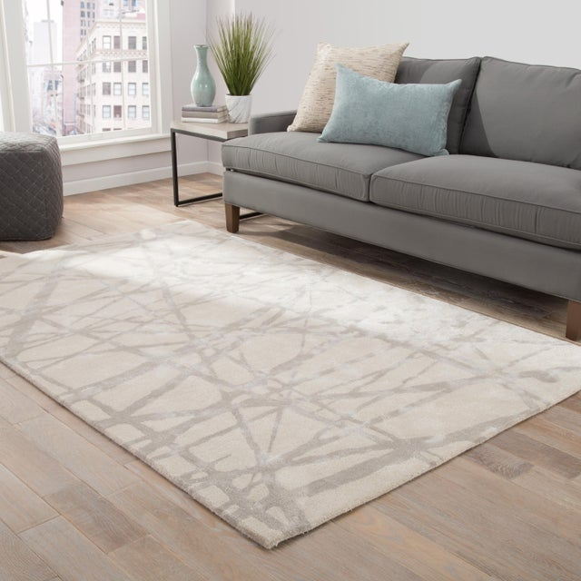 2010s Nikki Chu by Jaipur Living Avondale Handmade Abstract White & Gray Area Rug - 9' X 12' For Sale - Image 5 of 6