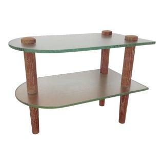 1940's Glass Top & Cerused Oak Side Table