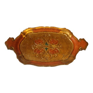 1960s Vintage Small Italian Wooden Florentine Tray in Gold and Orange For Sale