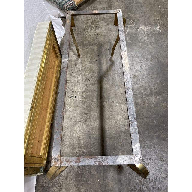 Italian Brass Upholstered Bench For Sale - Image 11 of 13