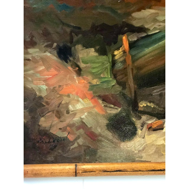 Vintage Impressionistic Campfire Painting For Sale In Atlanta - Image 6 of 9