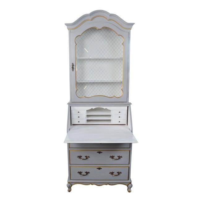 French-Style Grey Secretary Desk with Shelving - Image 2 of 6