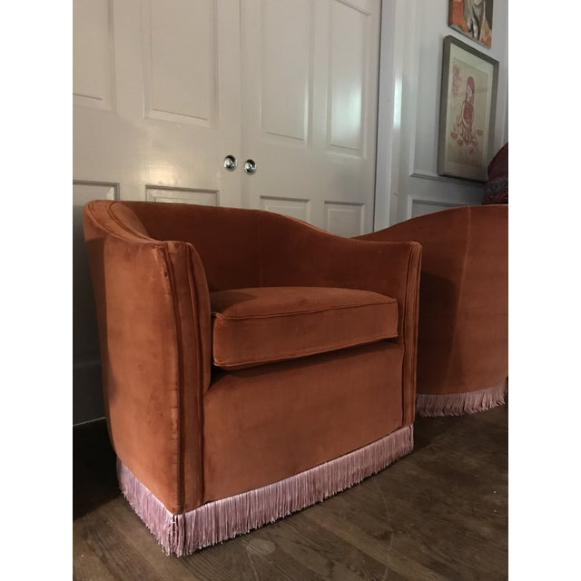 Traditional 1970s Vintage Rust Color Velvet Swivels Chairs- A Pair For Sale - Image 3 of 13