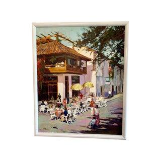 Impressionist Original Oil Painting of Sitges Street Scene by Spanish Post-Impressionist Josep Roca-Sastre For Sale