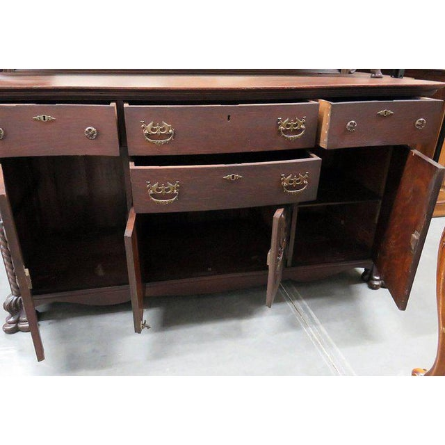 Brown Renaissance Style Sideboard With Superstructure For Sale - Image 8 of 13