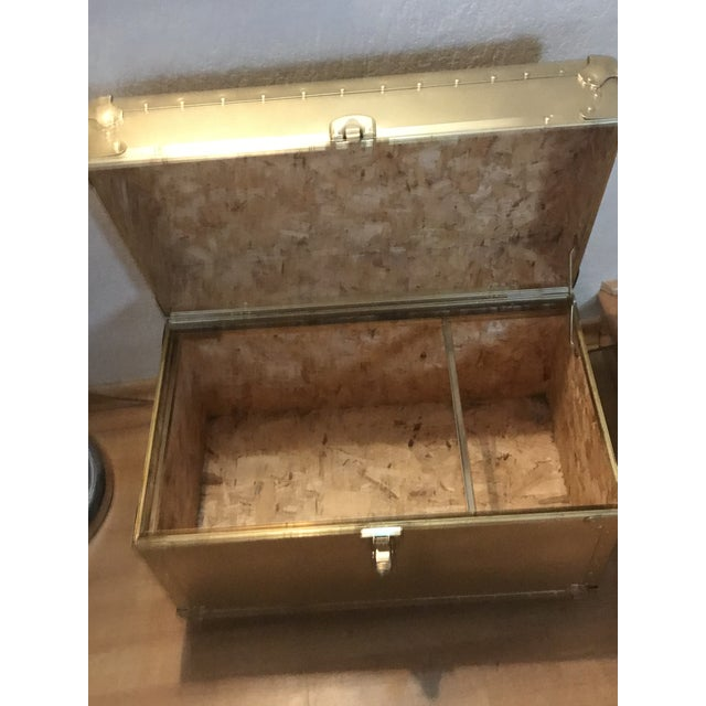 1950s Hollywood Regency Rolling Gold Metal Trunk Chest For Sale - Image 4 of 6